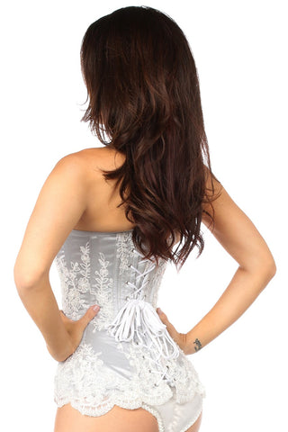 Elegant Silver Embroidered Steel Boned Corset