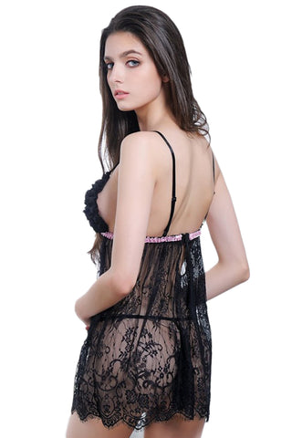 Black Ruffled Cups Babydoll