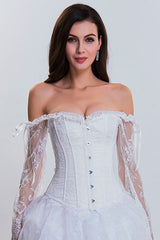 White Overbust Corset with Floral Lace Sleeves