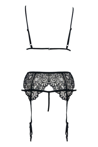 Three-Piece Floral Lace Lingerie Set