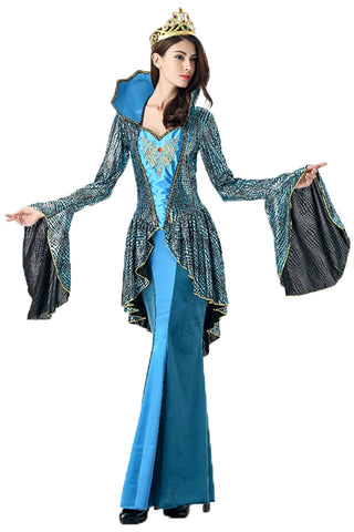 Atomic Deluxe Blue Medieval Queen Costume