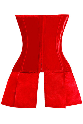 Little Shades of Red Lace Up Skirted Corset