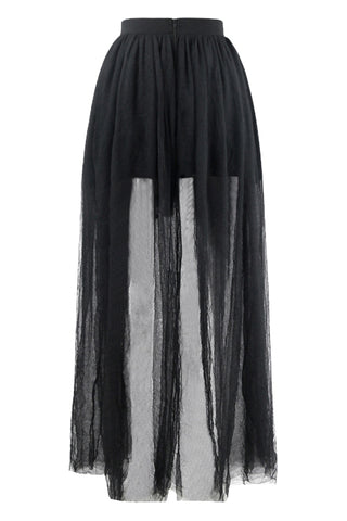 Black Gauze Asymmetrical Skirt