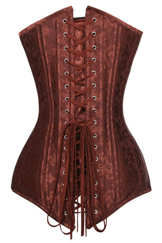 Brown Jacquard Weave Overbust Corset