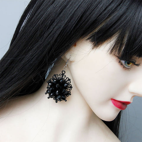 Gothic Metal with Black Beads Earrings