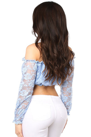 Lined Lace Long Sleeve Peasant Top