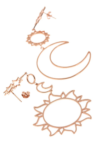 Sun and Moon Dangle Earrings