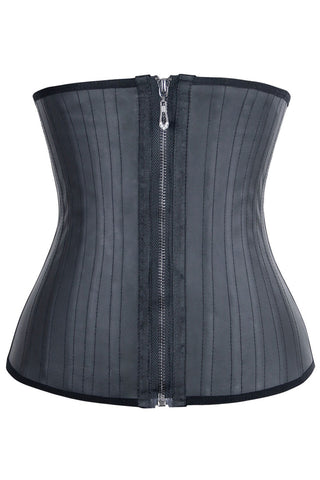 Black Steel Boned Latex Underbust Corset
