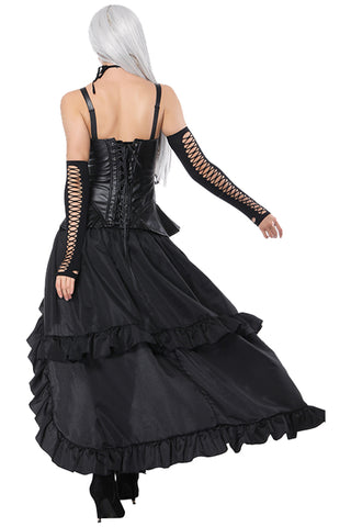 Black Boned Strapped Corset  and High-Low Skirt Set