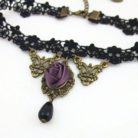 Atomic Black Lace And Purple Rose Choker Necklace