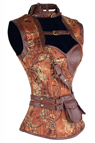 Brown Steampunk Gears Corset