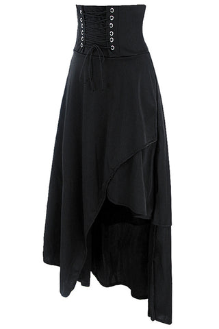 Long Black Band Skirt