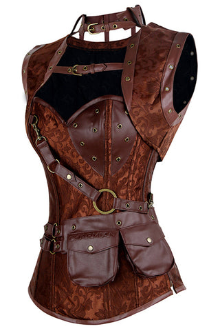 Brown Steampunk Overbust Corset and Shrug