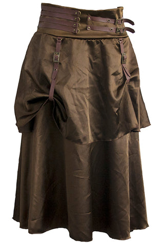 Brown Steampunk Satin Skirt