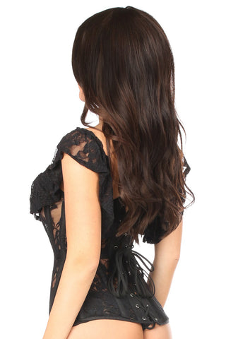 Black Sheer Lace Steel Boned Corset
