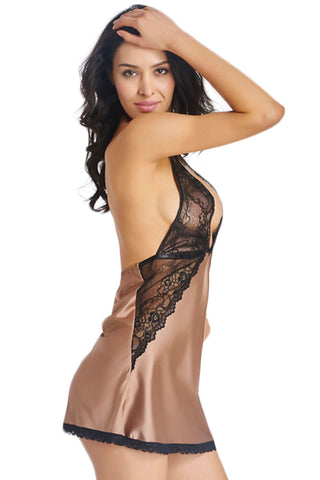 Champagne Lace Halter Babydoll