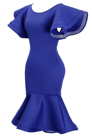Blue Flare Sleeved Fishtail Bodycon Dress