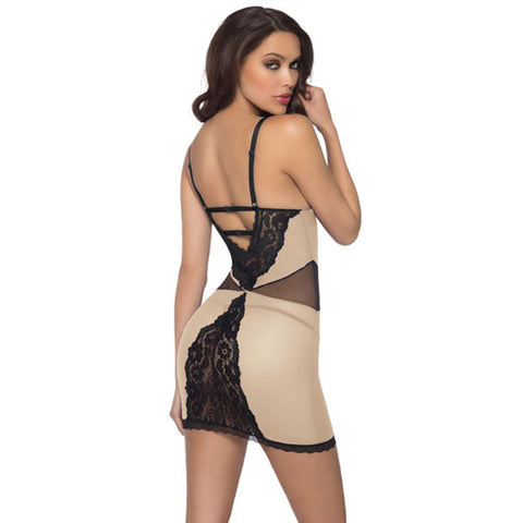 Flesh and Black Mesh Lace Chemise