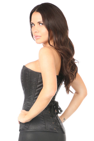 Black Brocade Steel Boned Corset w/ Clasp Closure