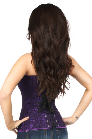 Dark Purple Lace Overbust Corset w/ Zipper