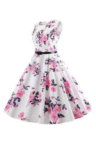 Atomic White Floral Dress with Belt