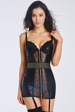 Black Leather and Lace Lingerie Nightwear