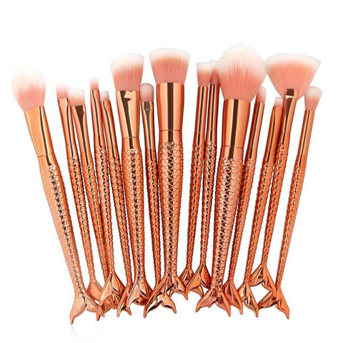 15-Piece Mermaid Makeup Brush