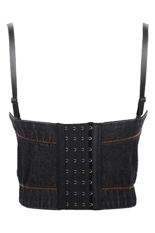 Black Denim Bustier Crop Top