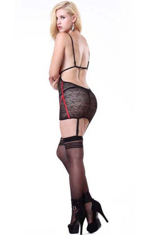 Red and Black Straps Lace Chemise