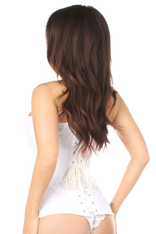 White Cotton Steel Boned Corset w/ Zipper