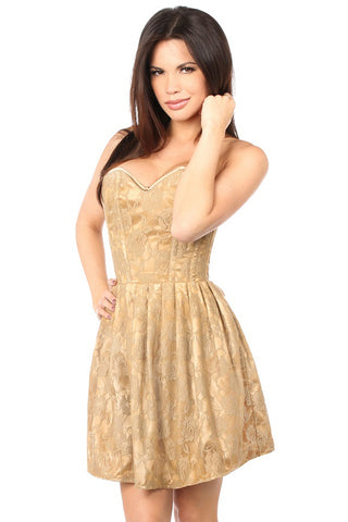 Top Drawer Premium Beige Floral Steel Boned Empire Waist Dress