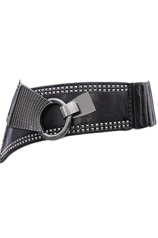 Black Punk Metal Interlock Buckle Belt