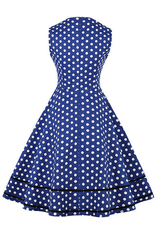 Blue and White Sleeveless Dotted Dress