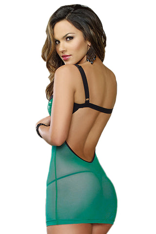 Green Sequined Mesh Chemise