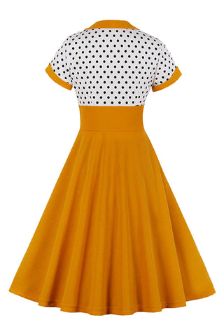 Atomic 1960s Vintage Polka Dot Swing Dress