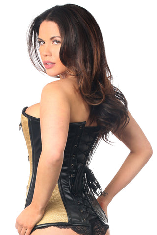 Gold Brocade & Faux Leather Steel Boned Corset