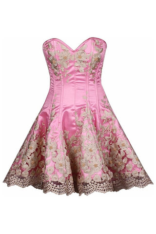 Top Drawer Premium Floral Embroidered Steel Boned Corset Dress