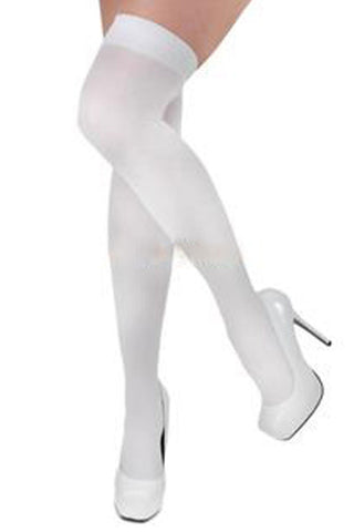 Opaque White Thigh High Stockings