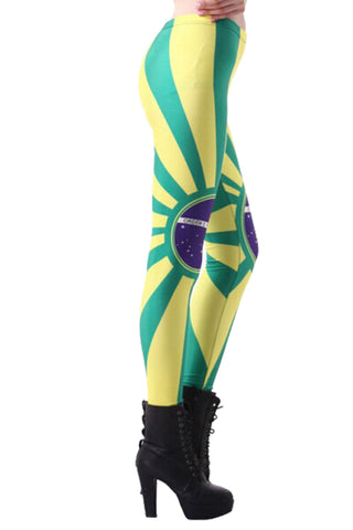 Brazil Flag Print Leggings