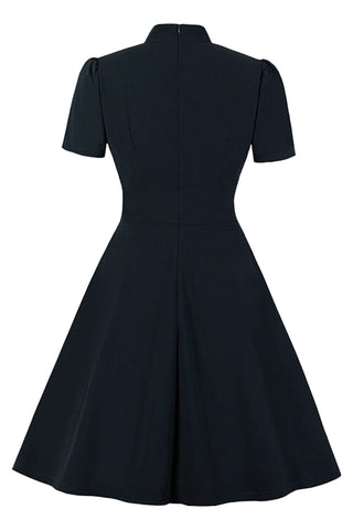 Black Stand Collar Midi Dress