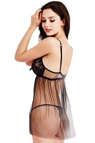 Black Ruched Tulle Babydoll