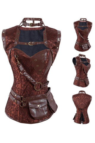 Brown Steampunk High Neck Overbust Corset and Shrug