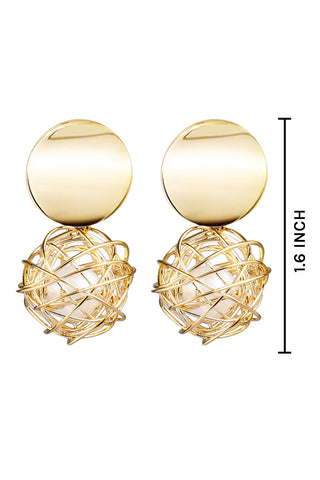 Golden Wireball Dangle Earrings