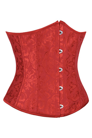 Atomic Red Floral Brocade Underbust Corset