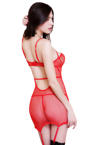 Red Lace Mesh Cut Out Chemise
