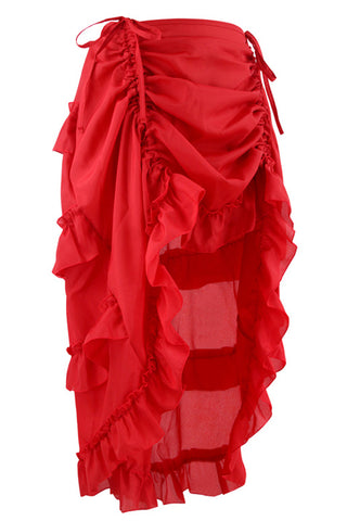 Red Victorian Gothic Ruffle Skirt