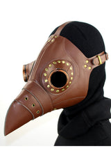 Brown Dr. Plague Bird Mask with Gold Rivet