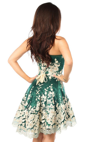 Floral Embroidered Steel Boned Corset Dress