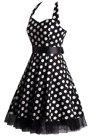 Bowed Polka Dot Halter Swing Dress