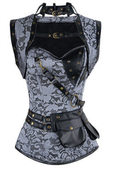 Gray Steampunk High Neck Overbust Corset and Shrug